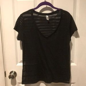 Black v neck burnout tee from Victoria's Secret